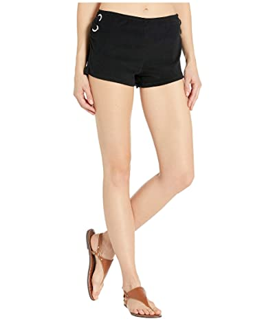 MICHAEL Michael Kors Terry Lace-Up Side Shorts Cover-Up (Black) Women