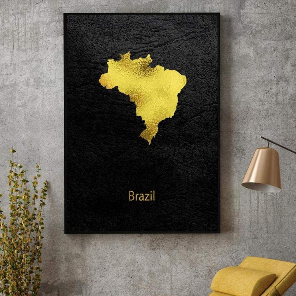 jongya Golden Map Art Brazil Canvas Painting Wall Art Pictures Prints Home Decor Wall Poster Decoration for Living Room 50X70cm 20x28 inch No Frame