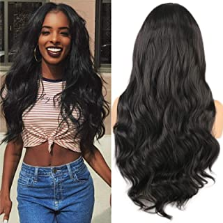 """Imeya #2 Darkest Brown Lace Front Wigs For Women- 24"""" Middle Parting Body Wave Wig With Natural Hairline 13x4 Swiss Lace W..."""