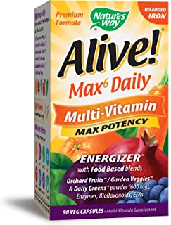 Nature's Way Alive! Premium Max6 Daily Multi-Vitamin Energizer w/Food Based blends, No Added Iron, 90 Vcaps