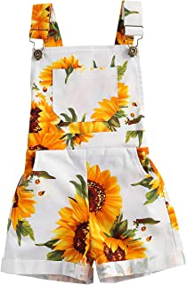 Ayalinggo Toddler Baby Girl Sunflower Print Overalls Shorts with Pocket Suspender Trousers Cute Summer Clothing Outfit