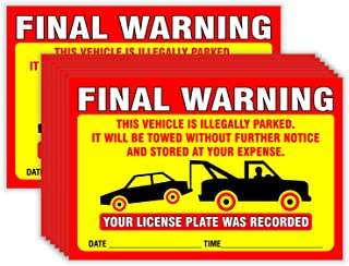 Final Warning Stickers (Pack of 50) Parking Violation Notice Vehicle is Illegally Parked - Large Size 6