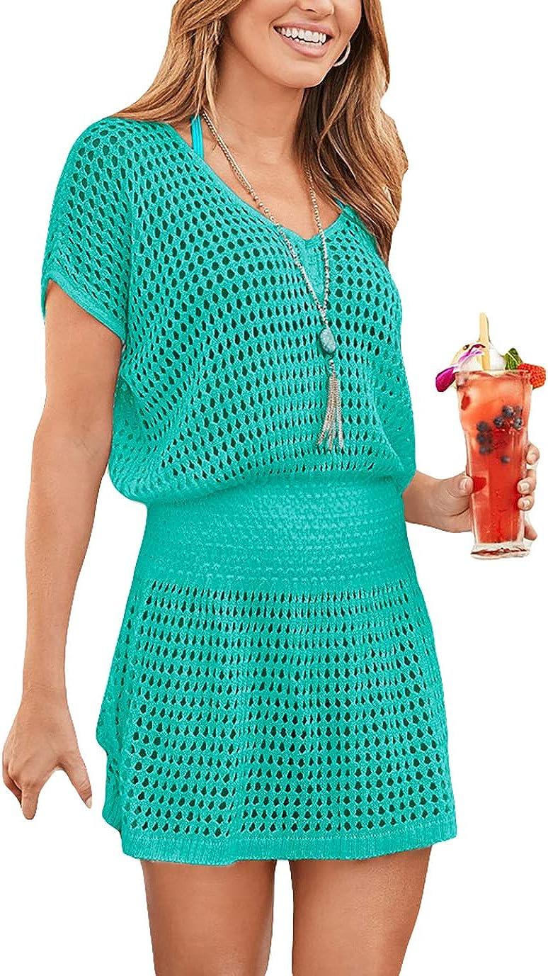 Eddoyee Sexy Crochet Swimsuit Cover Ups for Women Beach Skirt Short Tunic Beach Dresses