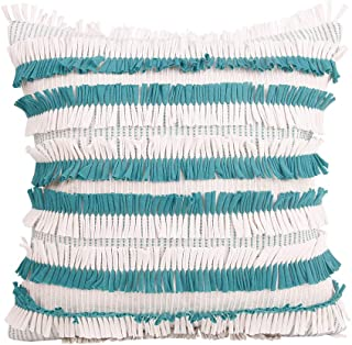 Merrycolor Beige Cushion Cover Tassels Fringe Grey Cotton Linen Pillow Cover for Sofa Bed Chair Home Decorative(Green)