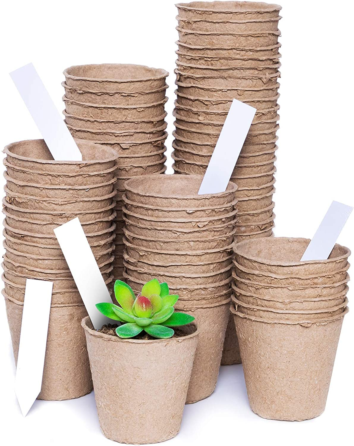 110 Packs 3.2 Inch Peat Pots Plant Starters for Seedling with 11