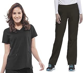 Purple Label Yoga Juliet 2245 V-Neck Scrub Top/9133 Tori Knit Waist Pant Black-X-Large/Large