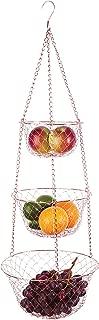 Fox Run 5211 3-Tier Copper Kitchen Hanging Fruit Baskets, 32 Inches,