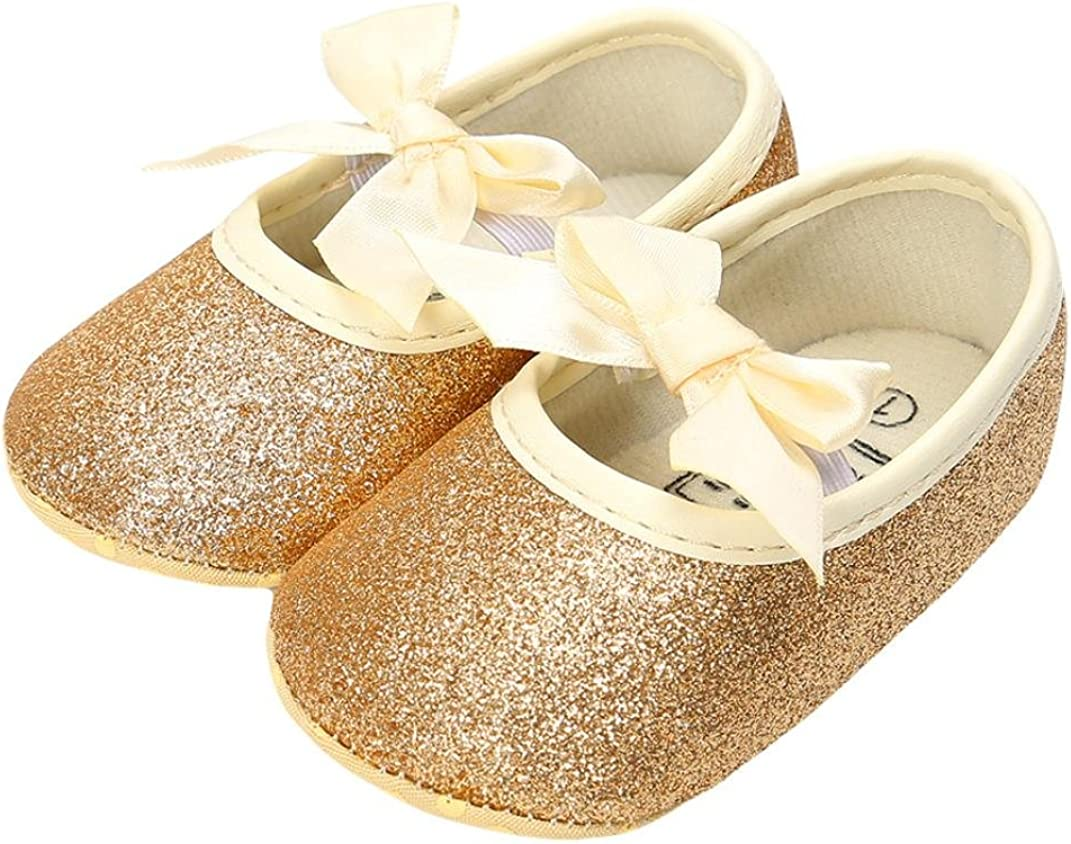 Voberry@ Baby Girl Sequins Bowknot Shoes+1PC Crown Hairband Toddler First Walkers Kid Shoes
