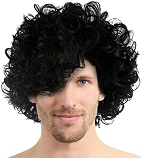 80's Pop Rocker Star Curly Wig Black Short Hair Afro Wigs for Cosplay Costume Halloween Party