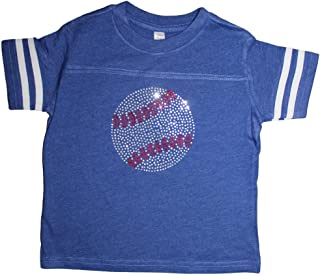 Little Girls Rhinestone Bedazzled Baseball tee Shirt