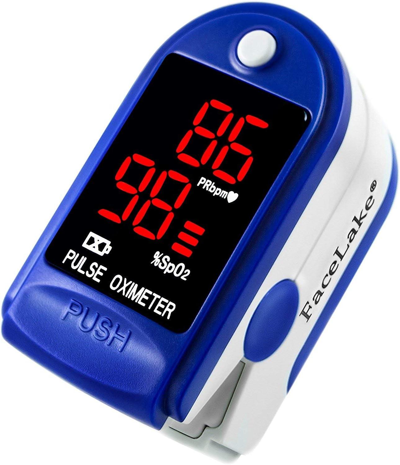 FaceLake  FL400 Pulse Oximeter Fingertip with Carrying Case Batteries Lanyard and Warranty Blue