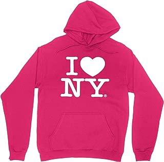 I Love NY New York Hoodie Screen Print Heart Sweatshirt Hot Pink