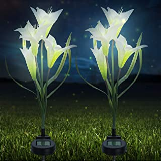 Sorbus LED Flower Light Lily Stakes, 2 Pack Solar Multi-Color Changing 8 LED Outdoor Garden Flowers, Lawn, Garden, Patio, Night Lighting, Path Walkway, Gravestones, Wedding (2 White Color Changing)