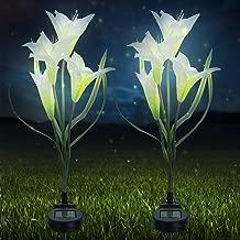 Sorbus 太阳能灯花百合桩,户外 LED 花园花,适合夜间照明,太阳路径走廊,草坪,花园,池塘,露台,墓地,特殊场合等 白色 SLR-FLR-WHA