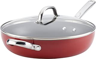 Farberware Buena Cocina Aluminum Nonstick Covered Deep Skillet with Helper Handle, 12-Inch, Red, Small - 22017