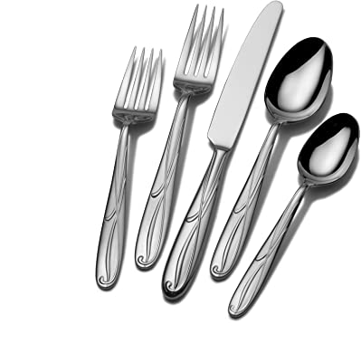 Mikasa 5061639 Cocoa Blossom 65-Piece 18/10 Stainless Steel Flatware Set with Hostess Serving Utensil Set, Service for 12,Silver
