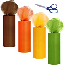 Supla 4 Colors Fall Autumn Tulle Rolls Orange Yellow Brown Tulle Fabric Ribbon Tulle Netting Rolls Spool - 6