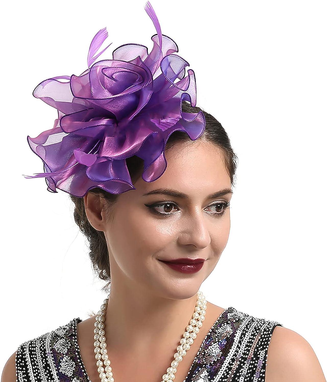 Chicmine Fascinators Hats 20s 50s Bridal Hair Accessories Mini Fascinator Hat Net Flower Cocktail Headwear Hair Accessories Purple
