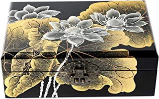 Dear life Lotus Hand-Painted Wooden Push Light Lacquer Jewelry BoxLacquer Wood JewelryStorage Organizer