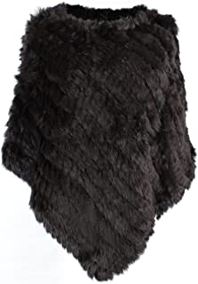 Women's Genuine Knitted Rabbit Fur Loose Cape Shawl Cloak