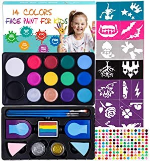Maydear Face Paint Kit for Kids,14 Large Paints,52- Stencils,160 Gems,2 Hair Chalk,2 Glitter Non-Toxic,Professional Face P...