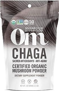 Om Organic Mushroom Nutrition Supplement, Chaga: Sacred Antioxidants, Anti Aging, 50 servings, 3.57oz, 100 Gram