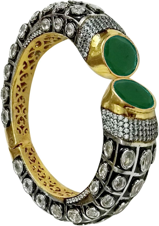 Babosa Sakhi Green Victorian Bracelet Antique Black Cz Oxidised Dual Tone Openable Ethnic Party Bangle BR33