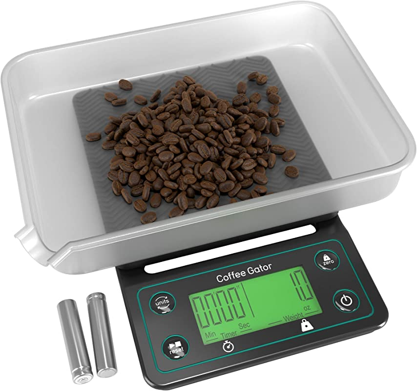 Coffee Gator Digital Scale With Timer Large Bright LCD Display Multifunction Weighing Scale For Coffee Brewing Food Drink And General Kitchen Use