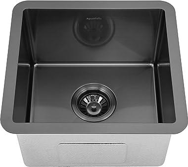 AguaStella AS1514MB Gunmetal Black Bar Sink and AS1010MB Matte Black Bar Faucet Combination