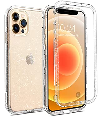 Coolwee Crystal Glitter Full Protective Case Compatible with iPhone 12 Pro Max Heavy Duty Protection Hybrid 3 in 1 Rugged Shockproof Women Girls Transparent Shiny Clear Bling Sparkle