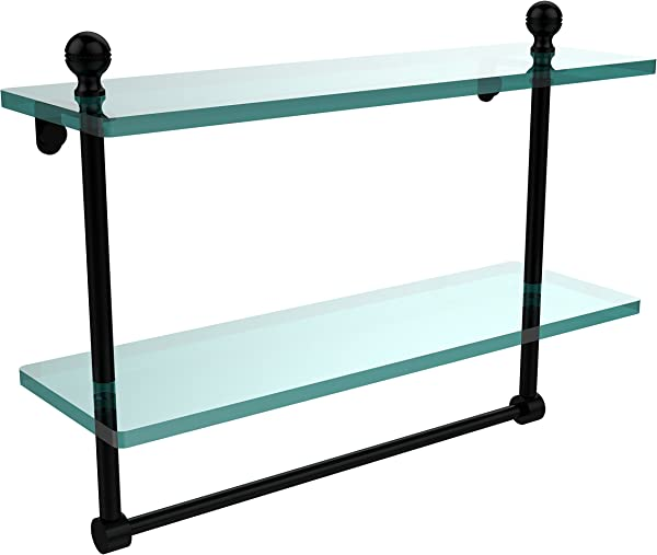 Allied Brass MA 2 16TB BKM Mambo Collection 16 Inch Two Tiered Glass Shelf With Integrated Towel Bar Matte Black