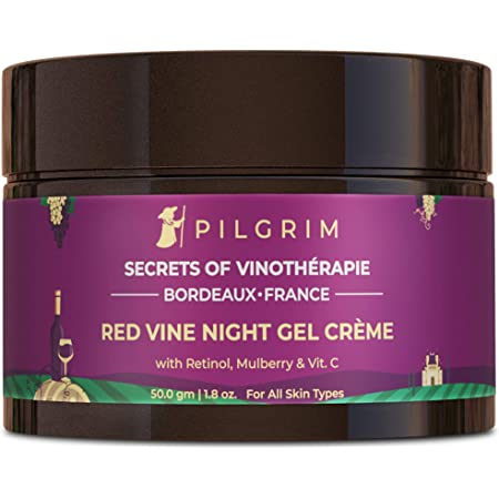 Pilgrim Anti Ageing Red Vine Night Gel Creme with Retinol, Mulberry & Vit C For Glowing Skin, Skin Repair, Dry, Oily, Sensitive Skin, Men & Women, 50g