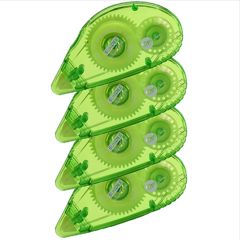 Rollo de cinta adhesiva permanente de doble cara para álbum de recortes, 0,8 x 360 pulgadas, aplicador permanente de puntos adhesivos, verde, paquete de 4