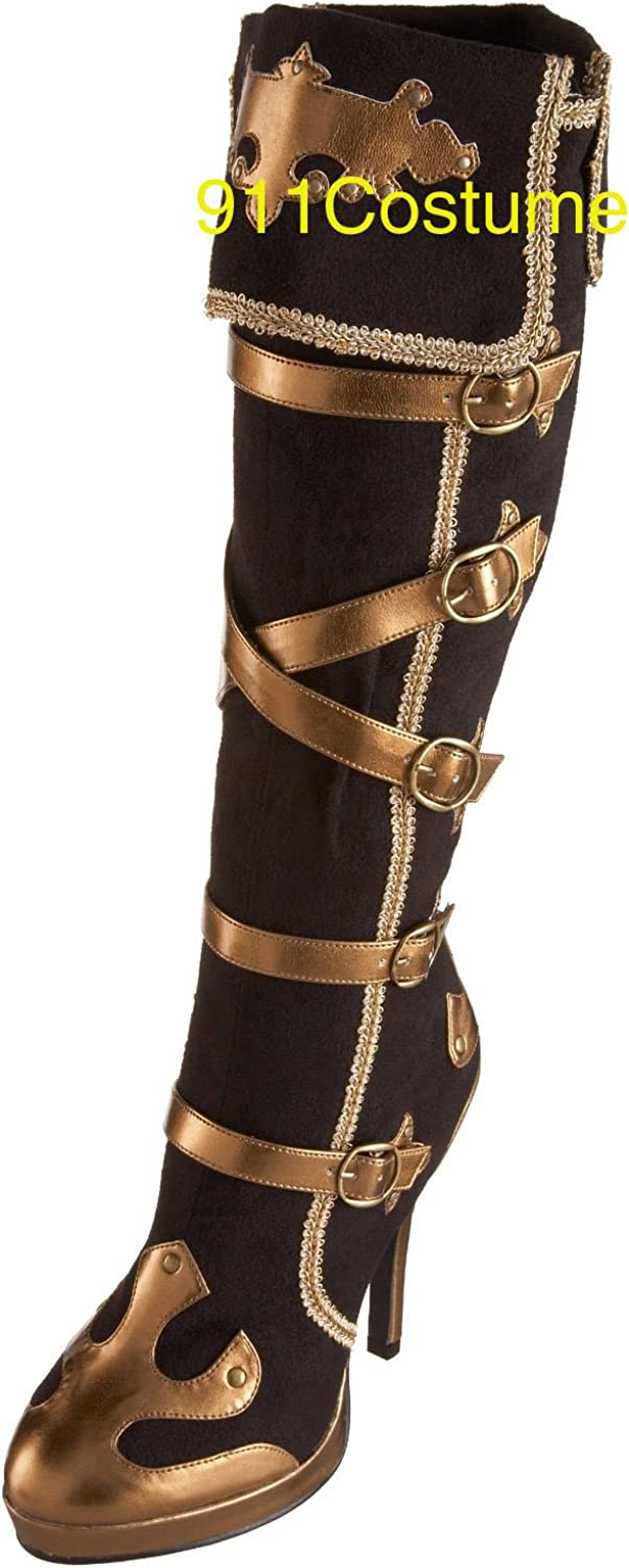 Sexy Pirate Boots Anna Blk & gold Sexy Pirate Costume Boot Sexy Carnival Boots 2012