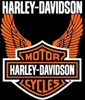 Harley Davidson Orange Wings Super Plush Throw Blanket Queen 76