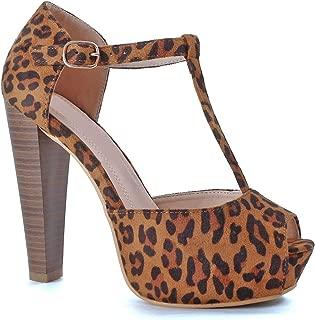 Women's Peep Toe Platform Sandal Pumps Open Toe Ankle Buckle T-Strap Extreme Evening Party Dress Sandal (10 M US, Leopard Suede)