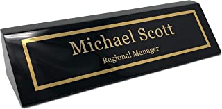 Personalized Business Desk Name Plate, Black Piano Finish - Free Engraving