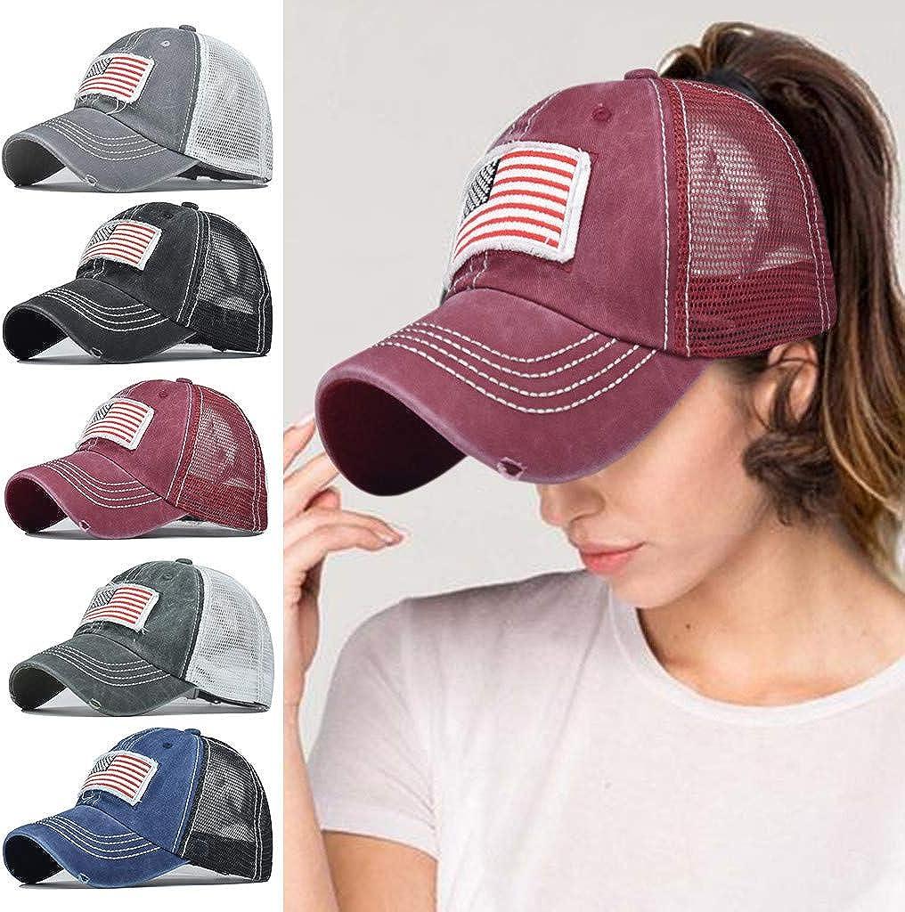 Women's Men's Baseball Cap High Ponytail Criss Cross Hat Camo American Flag Hat Novelty Bun Messy Ponycap