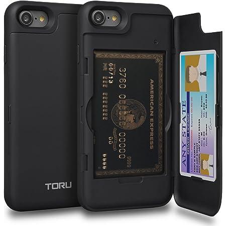 TORU CX PRO iPhone SE 2020 ケース カード 収納背面 2枚 IC Suicaカード入れ カバ― ミラー付き (アイフォン SE 2020 / アイフォン 8 / アイフォン 7用) - ブラック