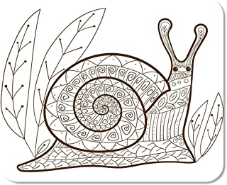 Suike Mousepad Computer Notepad Office Adult Coloring Page Cute Snail Whimsical Line for Colouring Home School Game Player Computer Worker 9.5x7.9 Inch