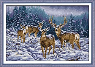 """Cross Stitch Stamped Kits Cross-Stitching Accurate Pre-Printed Pattern for Adults- Winter Deer 11CT 27""""X 19"""", for Home Decor (Pattern Printed On Fabric)"""