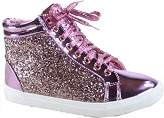 FZ-Sparkle-25 Women's Fashion Glitter Flat Heel High Top Lace Up Sneaker Shoes