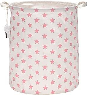 Sea Team 19.7 Inches Large Sized Waterproof Coating Ramie Cotton Fabric Folding Laundry Hamper Bucket Cylindric Burlap Canvas Storage Basket with Stylish Stars Design (19.7