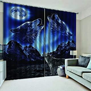 KRWHTS Window Sheer Curtain, Animal Wolf Galaxy Star Moon Voile Curtain for Kitchen Dining Living Room Bedroom Window Drapes 2 Panel Set