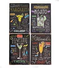 PEI's Cocktail Recipe Tin Metal Signs, Margarita, Martini, Mojito, Mimosa, 8x12 inch, Home and Bar Decor (4pcs set)