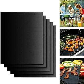 Set de 5 Tapis de Cuisson Haut de Gamme pour Barbecue et Four, Carryme BBQ Tapis très épais de 40*33cm pour les barbecue à...