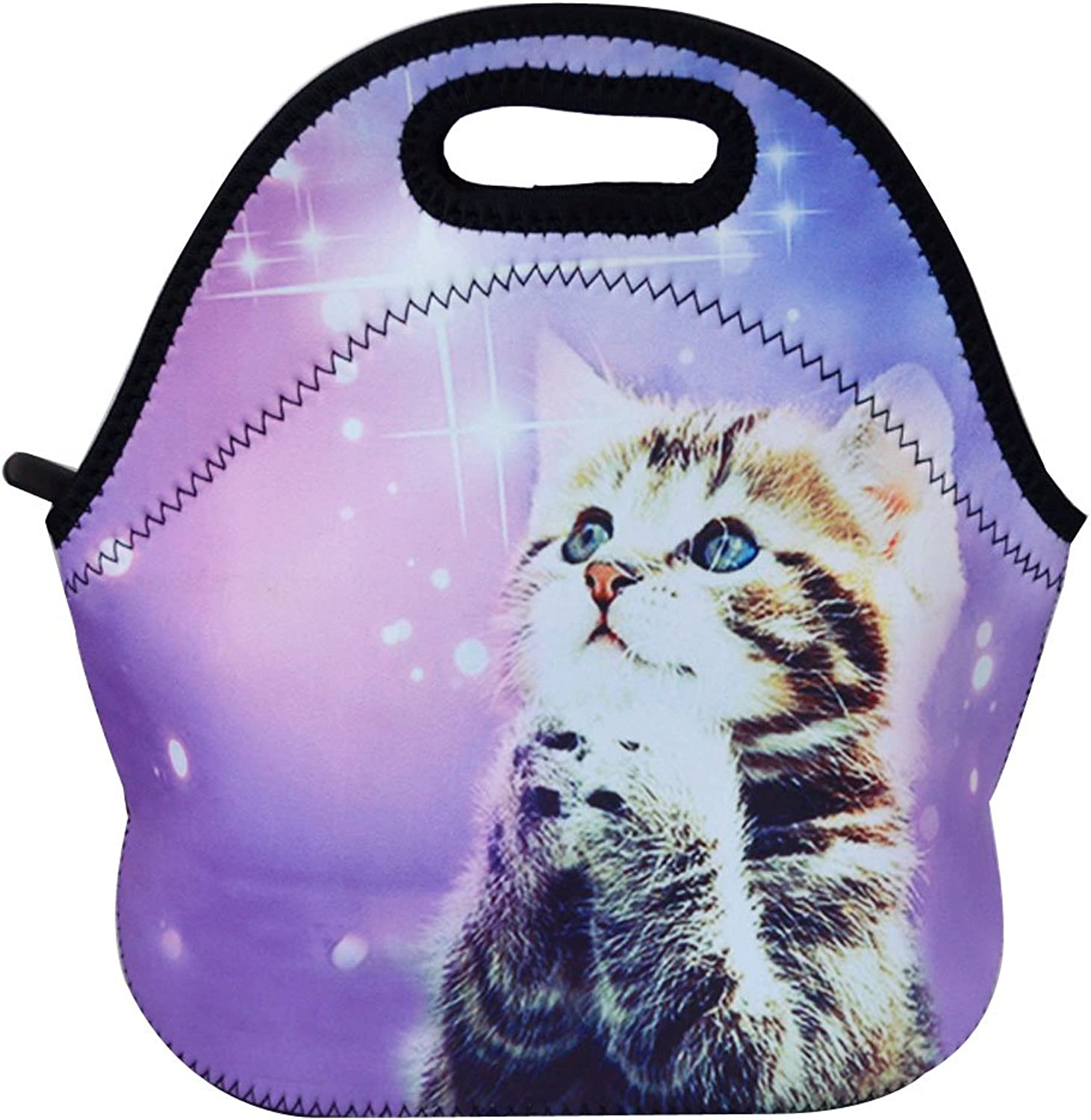 Monique Animal Print Neoprene Waterproof Lunch Bag Tote Large Capacity Insulated Picnic Handbag Purse for School Office Travel Cat