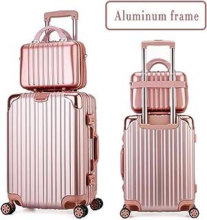 Suitcase+Cosmetic Case Set, New Fashion Trolley Boarding Universal Wheel& Locks Large Capacity Multi-Function,Rose,20+14inch