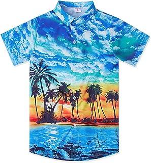 EELa Mens Classic Short Sleeve Casual Button Down Printed Chinese Dragon Shirt Summer M