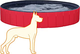 YAHEETECH Hard Plastic Foldable Pool Collapsible Large Pool Bathing Swimming Tub Kiddie Baby Pool for Kids, 63inch.D x 12inch. H, Red